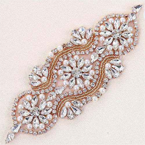 XINFANGXIU Rose Gold Bridal Wedding Sash Applique Rhinestone Crystal Belts Pearls Beaded Embellishments Elegant Sewn Iron on for Gown Prom Party Dress Women clothes from XINFANGXIU