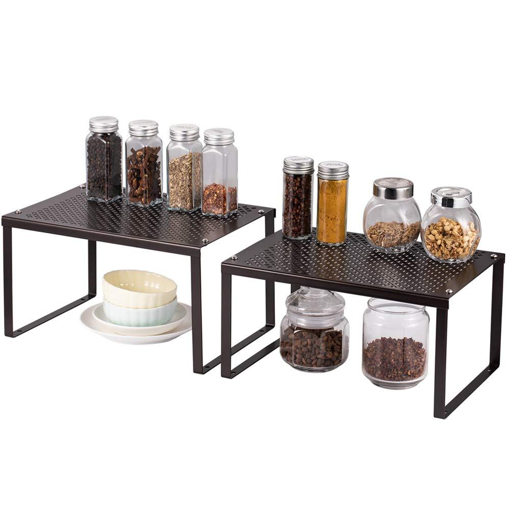 Expandable /& Stackable Counter Top Organizer Shelf Kitchen Spice Jars Bottle Shelf Holder Rack for Bathroom Laundry Room 2 Pack Bamboo Kitchen Cabinet