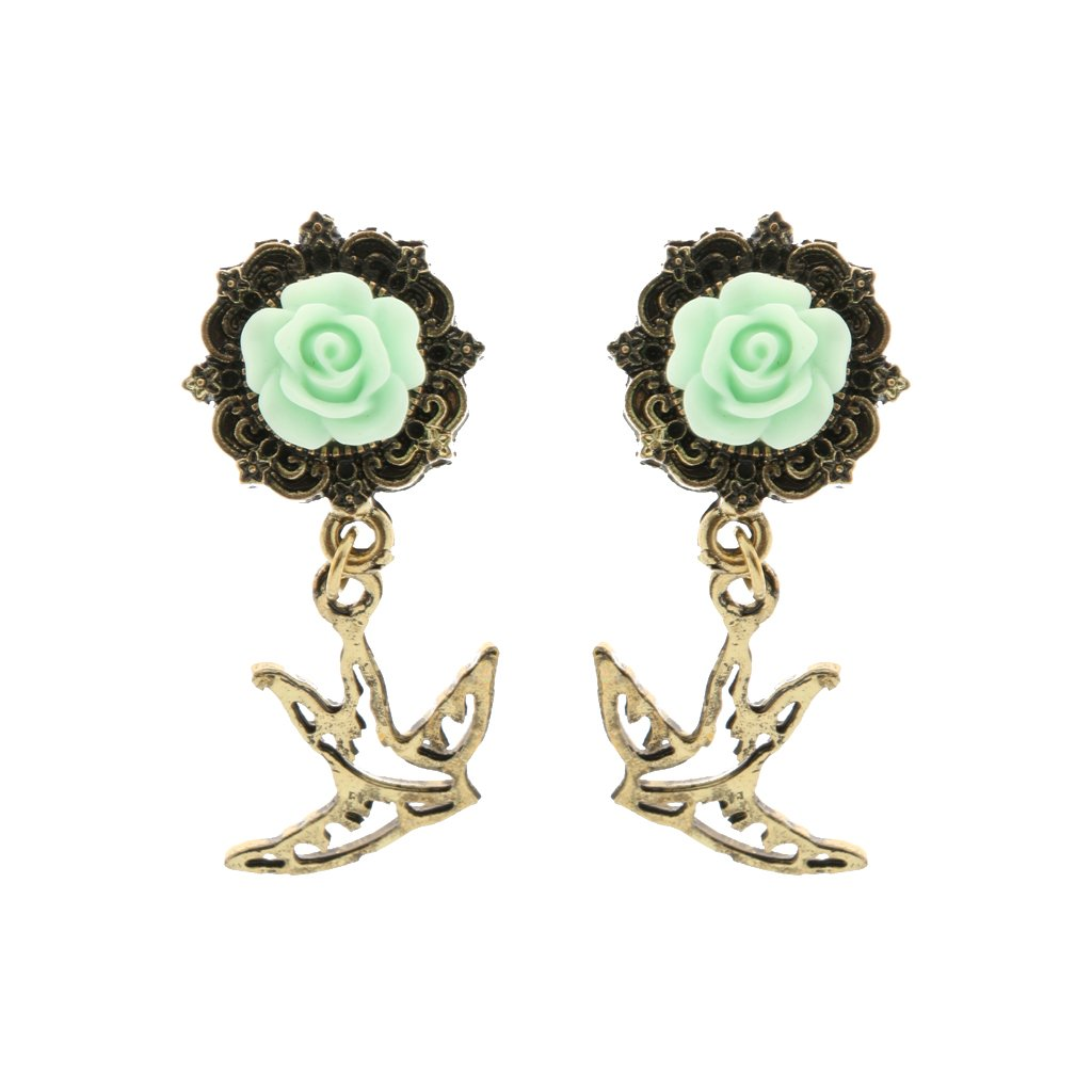 Generic 1 Pair Antiqued Swallow Dangle Rose Flower Ear Tunnel Plugs Stretchers