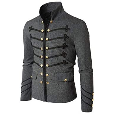 e975c7be0d Casual Men Outerwear Plus Size Gothic Military Parade Jacket Tunic Autumn  Men s Fashion Rock Black Steampunk