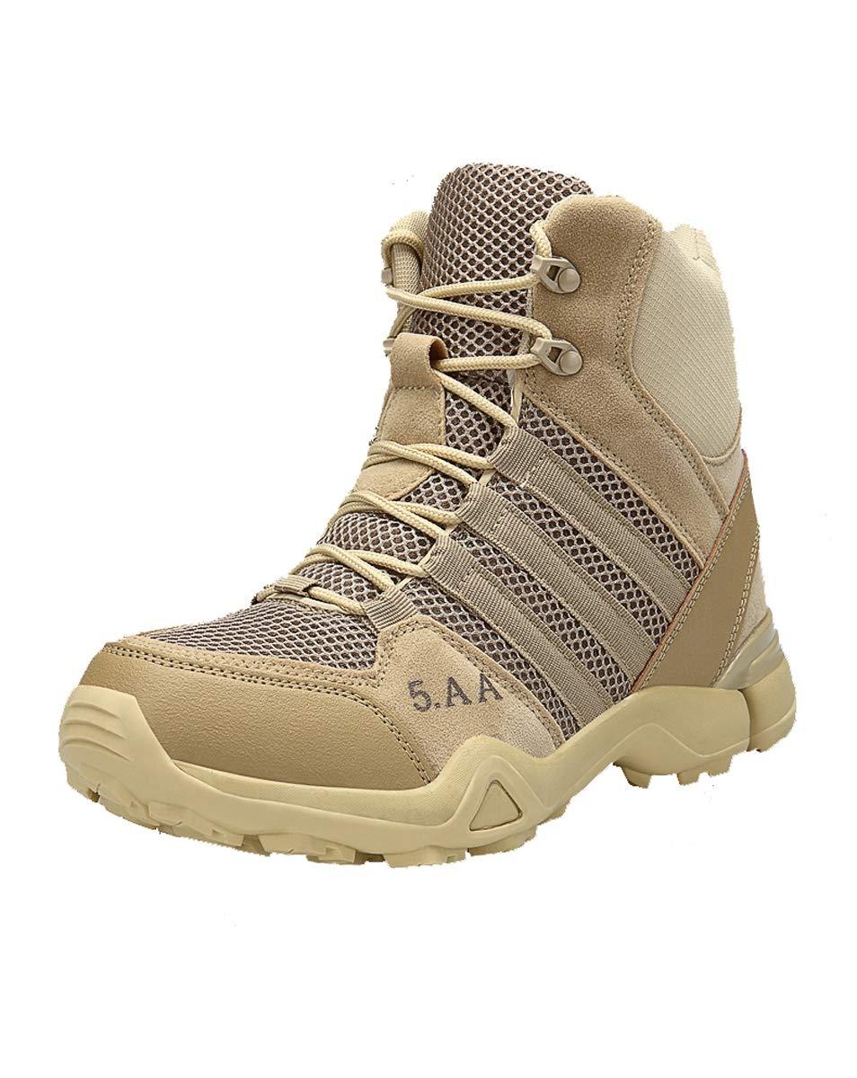 Adong  Herren Desert Stiefel Training Stiefel Outdoor-Schuhes High Rise Wanderstiefel Klettern Schuhe alle Saison,Beige,41EU