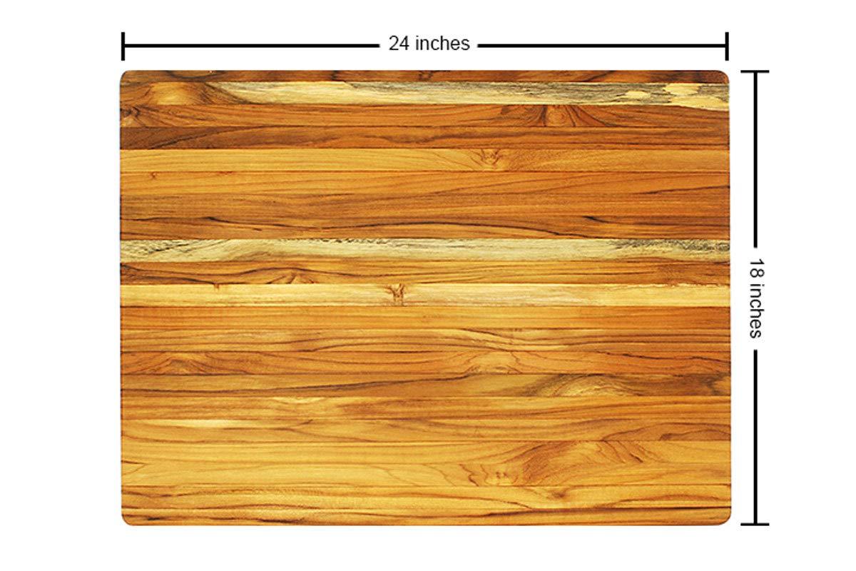 Terra Teak Cutting Board - Extra Large Wood Board 24 x 18 x 1.5 Inch by Thirteen Chefs (Image #4)