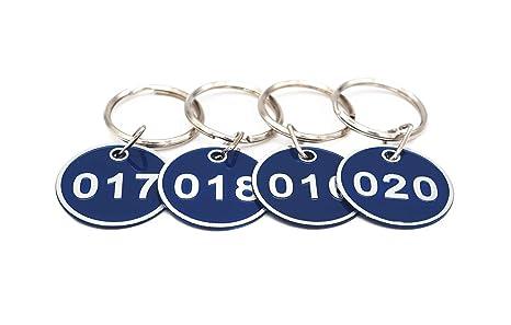 Llavero de aleación de aluminio, juego de etiquetas, número de etiquetas de identificación, llavero, llaveros numerados, 50 piezas, color rosso 1 to ...