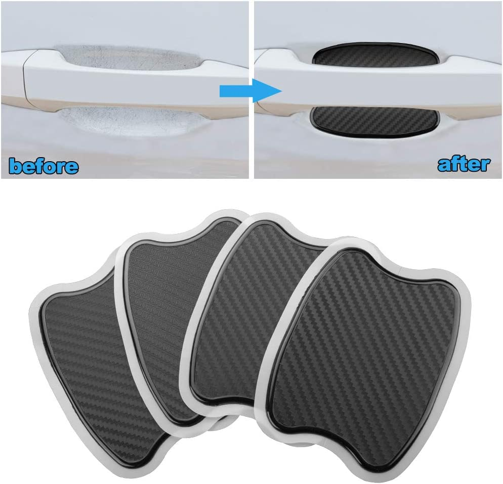 L 4-Pcs HANBAO Universal TPU 3D Carbon Fiber Texture Car Door Handle Paint Scratch Personalize Protective Pad Protector Sticker Car Door Protector Films