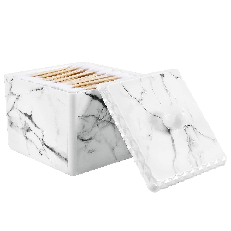 Wei/ßer Marmor Q Tips Spender Beh/älter Box Wasserdicht Kosmetik Aufbewahrungsbox mit Deckel Stabil Abschminkpa Organizer Beh/älter f/ür Wattest/äbchen Halterung Lewondr Wattest/äbchen Aufbewahrungsbox