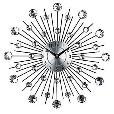 Timelike Crystal Wall Clock - Celebration Decorative Metal Wall Clock - Diameter: 13 inch (33*33*4.5cm) Material: metal + acrylic diamond. Fashionable aluminum clock face, with 12 numbers so easy to TRACK THE HOURS - wall-clocks, living-room-decor, living-room - 61czyBm2%2BfL. SS400  -