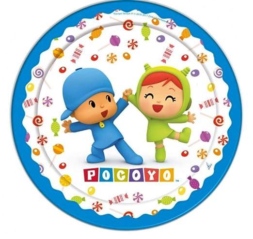 CAPRILO Lote de 40 Platos Infantiles Decorativos de Cartón Pocoyo y Niña. Vajillas Desechables. Juguetes y Regalos Fiestas de Cumpleaños, Bodas, ...