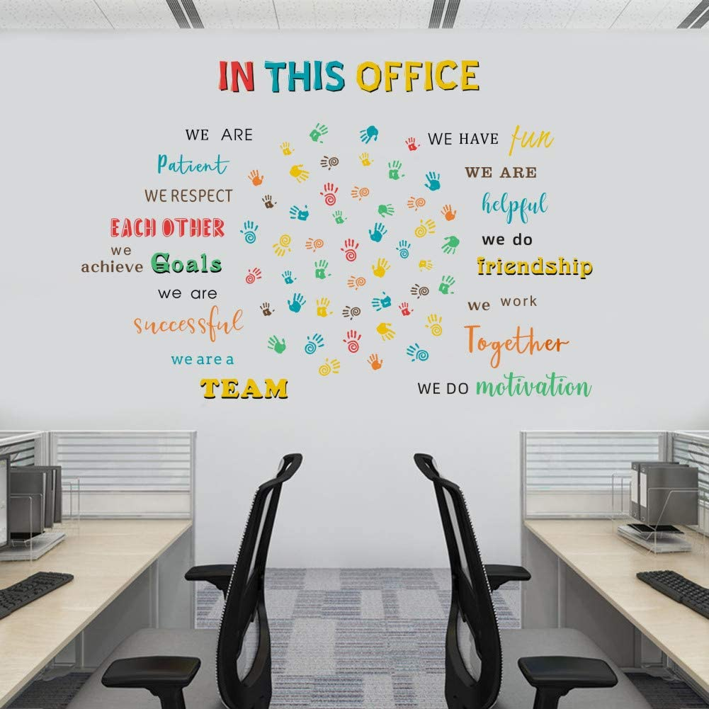 IARTTOP in This Office Lettering Wall Decal,Colorful Inspirational Quote Watercolor Handprint Wall Stickers for Office Classroom Company Decor