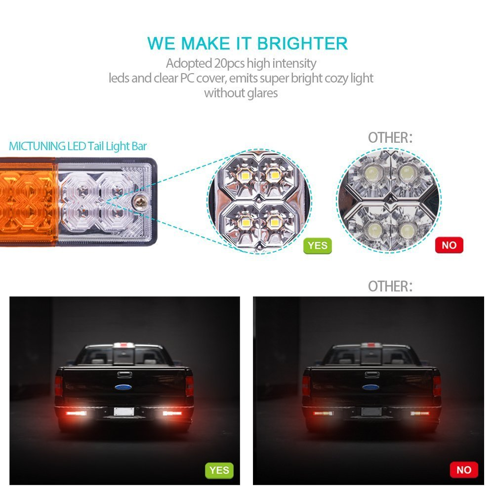 2 Pack DC12V Turn Signal and Parking Reverse Brake Running Lamp for Car Truck Red-Amber-White MICTUNING 20 LED Trailer Tail Lights Bar-Waterproof