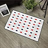 Children's mat W16 x L24 INCH Retro,Vintage Pop Art 58s Style Dots Circles Rounds with Inner Details Art,Red Dark Blue and White Non-Slip, with Non-Slip Backing,Non-Slip Door Mat Carpet