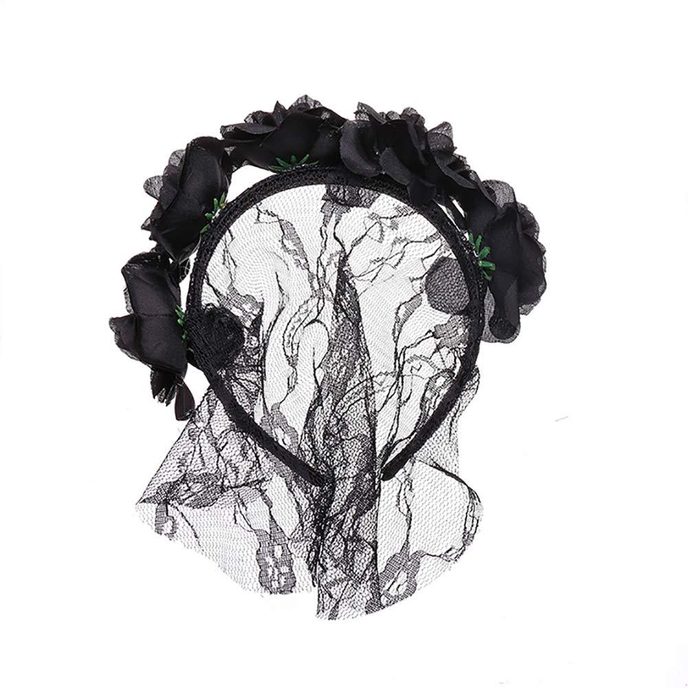 Bangle009 Clearance Sale Women's Lace Flower Hair Hoop Headband Hairband Headwear Christmas Decor Black