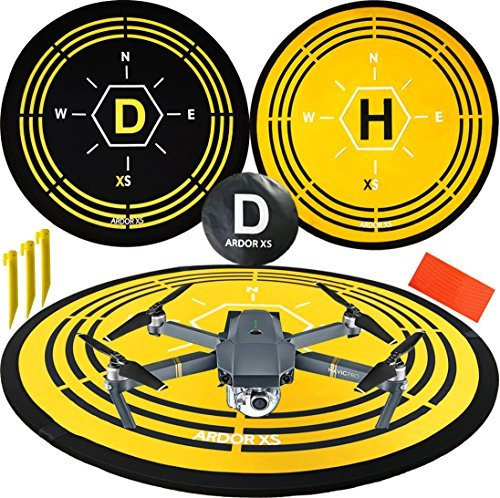 Premium Quality Drone Landing Pad 75 CM By ARDOR XS Collapsible RC Heli Pad Quick Launch Portable Air Base Foldable Helipad fits Universal brands DJI Blade Inspire Yuneec Parrot UDI GoPro Syma Hubsan