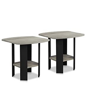 Furinno 2-11180GYW End Table 2, French Oak Grey/Black