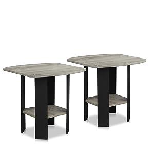 Furinno 2-11180GYW End Table 2, French Oak Grey/Black