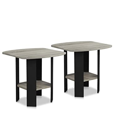 Furinno 2-11180GYW End Table, 2, French Oak Grey/Black