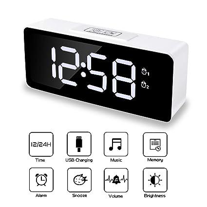 TWFRIC Despertadores Digital, LED Reloj Digitales con Alarmas Dual Función Snooze 3 Brillo Ajustable 25 Música Puerto USB Despertador para ...