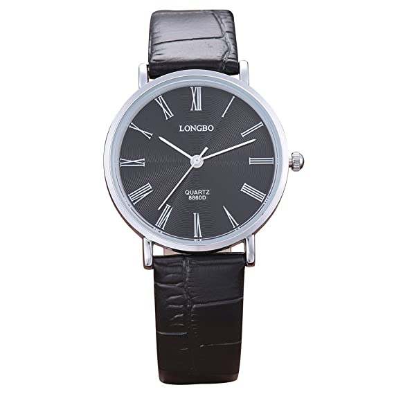 Longbo MUJER Casual negro Croco piel banda Business reloj Ladies Dress relojes  números romanos esfera negra plata caso analógico cuarzo reloj de pulsera   ... 7fb8c88f6765