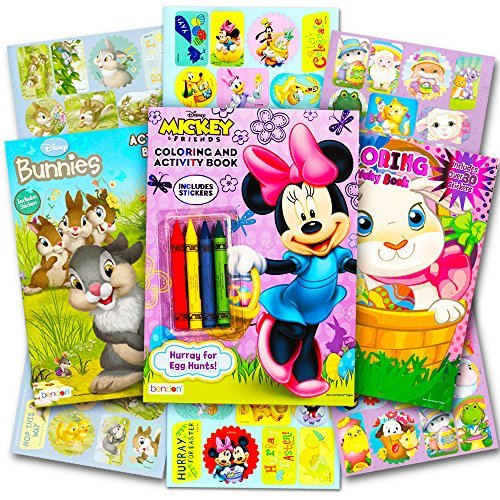 Disney Easter Coloring and Activity Book Set with Stickers (3 Books Featuring Disney Bunnies, Mickey and Minnie Mouse, and More)