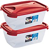 Wham Cuisine Rectangular Food Storage Plastic Box Container, 2 Litre, 2 Pcs Set, Red