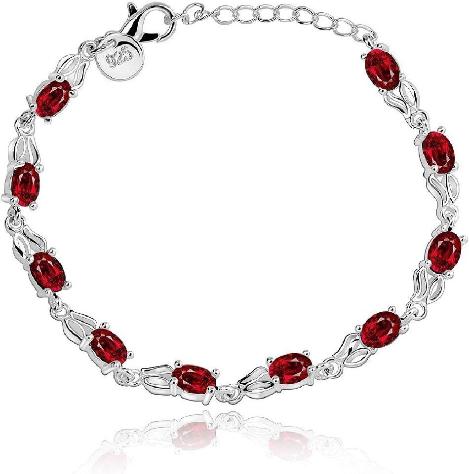 joyliveCY-Moda 925 de plata de ley retro cadena de joyer¨ªa pulsera de cristal de mujeres