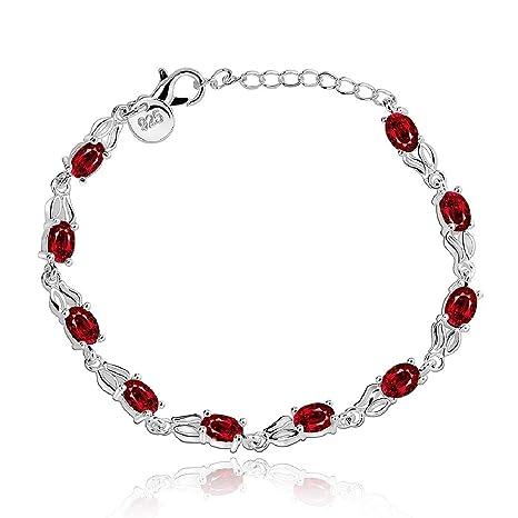 11e1fcd011e1 joyliveCY-Moda 925 de plata de ley retro cadena de joyeršªa pulsera de  cristal de mujeres  Amazon.es  Joyería