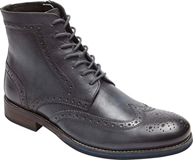Rockport Men's Wyat Wingtip Boot Dark Shadow Leather Boot