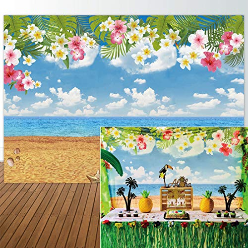 Allenjoy 7x5ft Photography backdrops Tropical Party Birthday Hawaii Summer Beach Banner Photo Studio Booth Background Newborn Baby Shower photocall ()