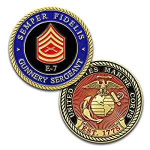 Marine Corps E7 Challenge Coin! USMC GySgt Rank Military Coin. Gunnery Sergeant Challenge Coin! Designed by Marines For Marines - Officially Licensed Product! from Coins For Anything Inc