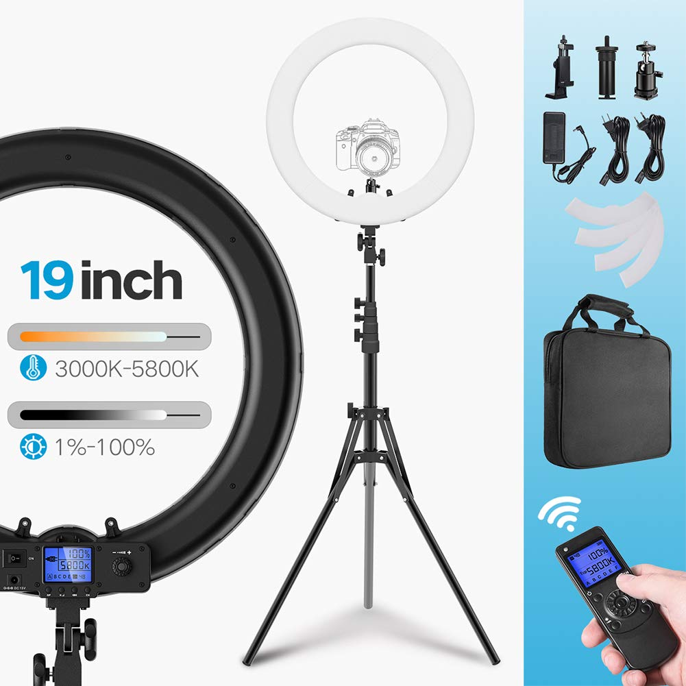 Ring Light Kit Wireless Remote Bi-Color 19 inch Dimmable 3000K-5800K 55W LED Ring Light with Adjustable Light Stand, Carrying Bag, US/EU Plug for YouTube Self-Portrait Shooting and Makeup