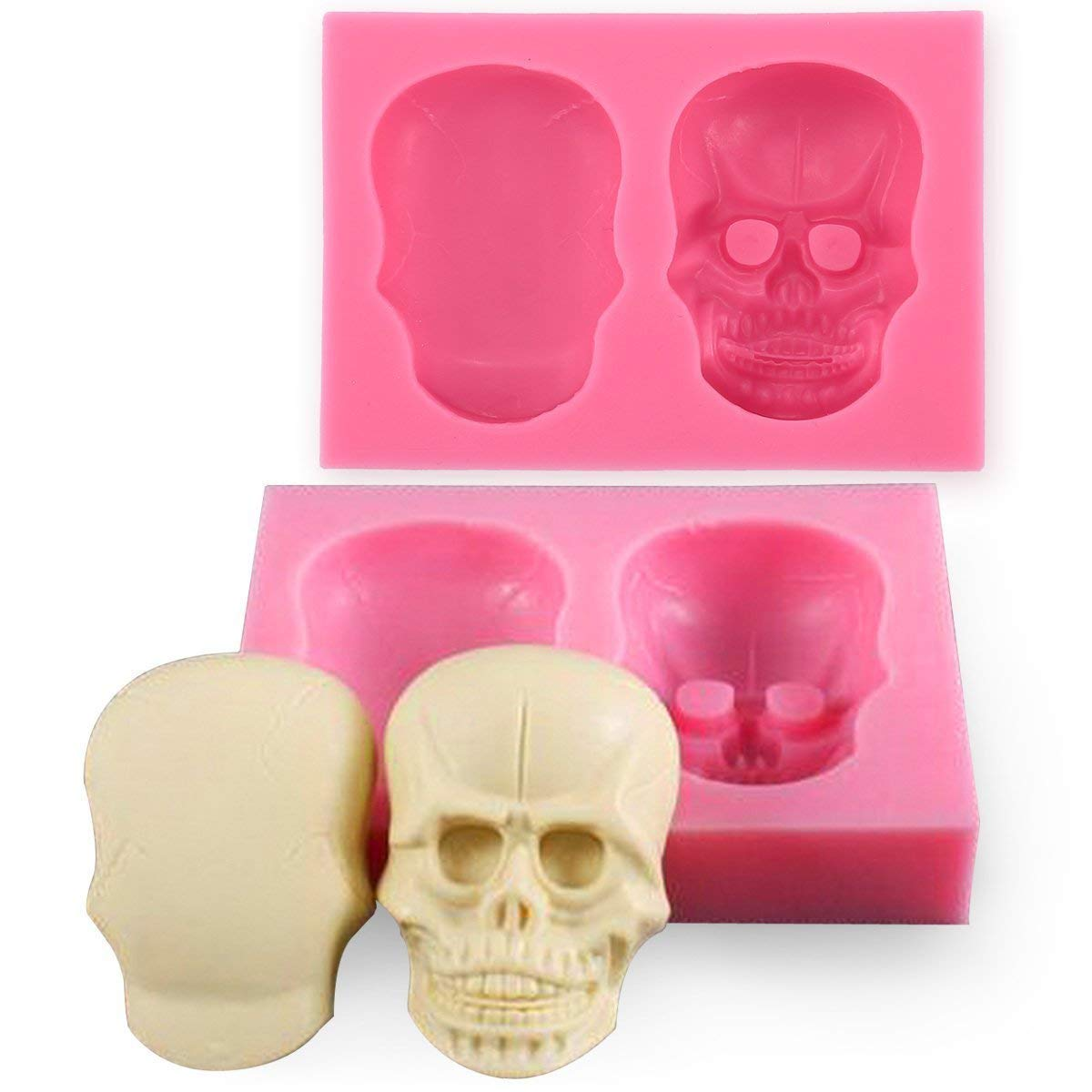 3D Skull Silicone Mould Cake Fondant Mold Halloween Party CupcakeTopper Decoration Chocolate Biscuit Sugarcraft Mold Icing Decor Baking Tool Jona Fun