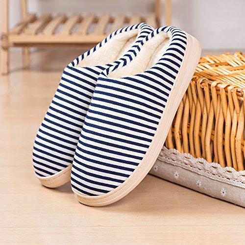 Y-Hui Home Inverno la metà di un pacco con caldo cotone a strisce inverno paio di pantofole di cotone,4243 Codice (per 4142 piedi),Navy