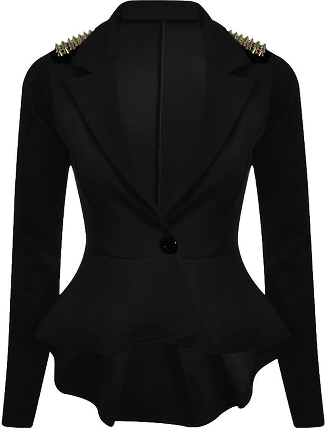 ed338055abe Womens Spikes Studded Crop Peplum Frill Button Blazer Jacket Coat Material   95% Polyester 5% Elastane Approximate Length From Shoulder (Front) - 21