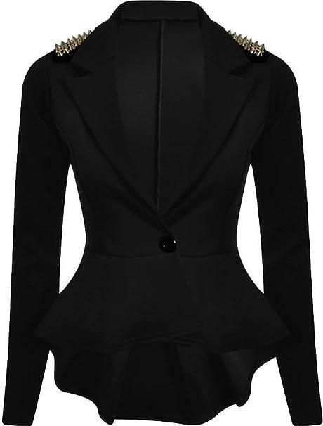 Amazon.com: FashionMark Blazer corto con botón peplum para ...