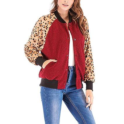 SMILEQ - Abrigo Informal de Invierno para Mujer, diseño de Leopardo, Mujer, Rojo