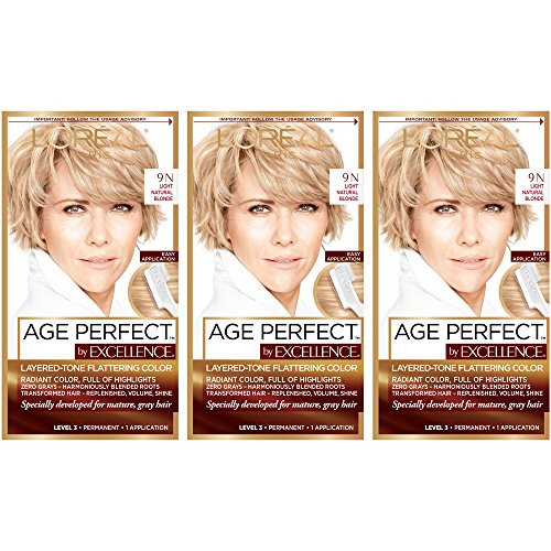 (L'Oréal Paris Age Perfect Permanent Hair Color, 9N Light Natural Blonde,3 count)