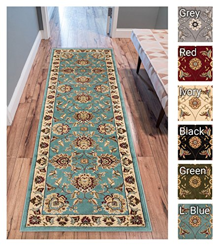 Sultan Sarouk Light Blue Persian Floral Oriental Formal Traditional 2×7 (2'3″ X 7'3″) Runner Stain / Fade Resistant Contemporary Floral Thick Soft Plush Hallway Entryway Living Dining Room Area Rug Review