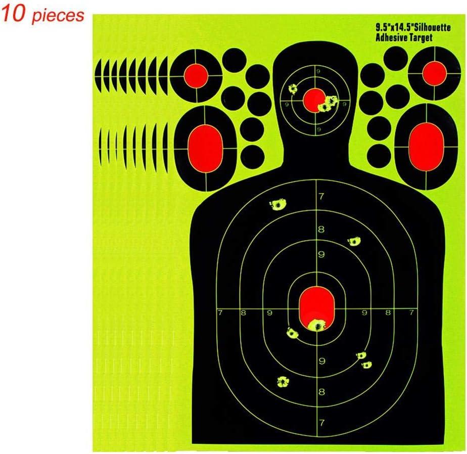 La Forme du Corps Humain Effet Splash Papier Cible Fluorescent pour ibles tir /à larc et cibles darmes /à feu (10 PCS) 14,5 Pouces Cible pour Le tir /à larc