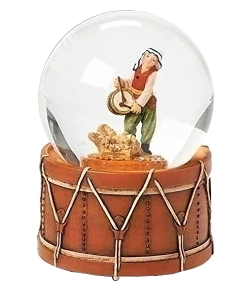 Fontanini Drummer Boy With Baby Italian Musical Glass Christmas 80mm Snow Globe