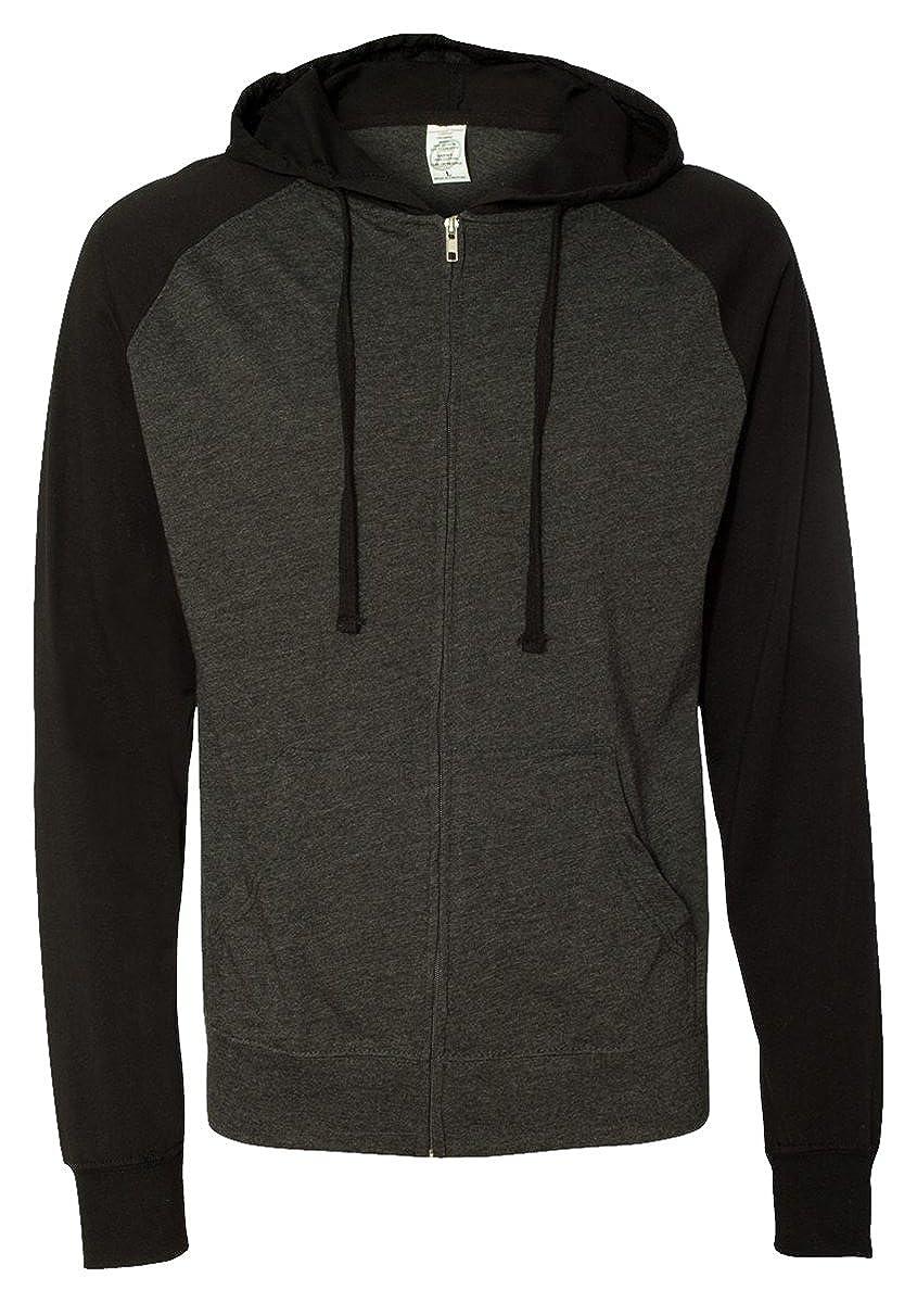 Lightweight Jersey Raglan Hooded Full-Zip T-Shirt SS155RJZ Independent Trading Co