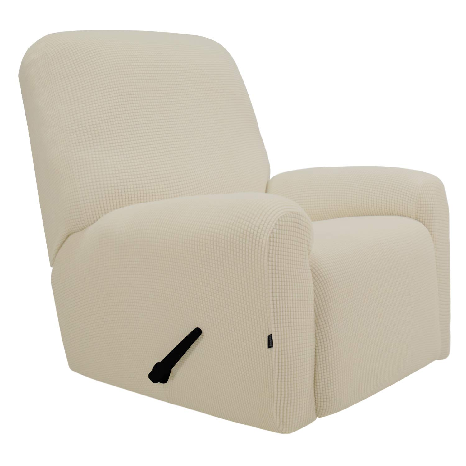 (recliner, Ivory) - Stretch Recliner Slipcovers, Sofa Covers, 4 Pieces Furniture Protector with Elastic Bottom,Straps, Couch Shield with Pocket,Polyester Spandex Jacquard Fabric Small Cheques by Easy-Going(Recliner,Ivory) recliner アイボリー B076NNRJYM