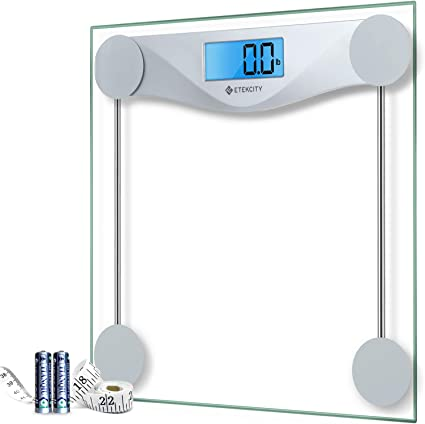 Amazon Com Etekcity Digital Body Weight Bathroom Scale With Body Tape Measure Large Blue Lcd Backlight Display High Precision Measurements 6mm Tempered Glass 400 Pounds Silver Home Kitchen