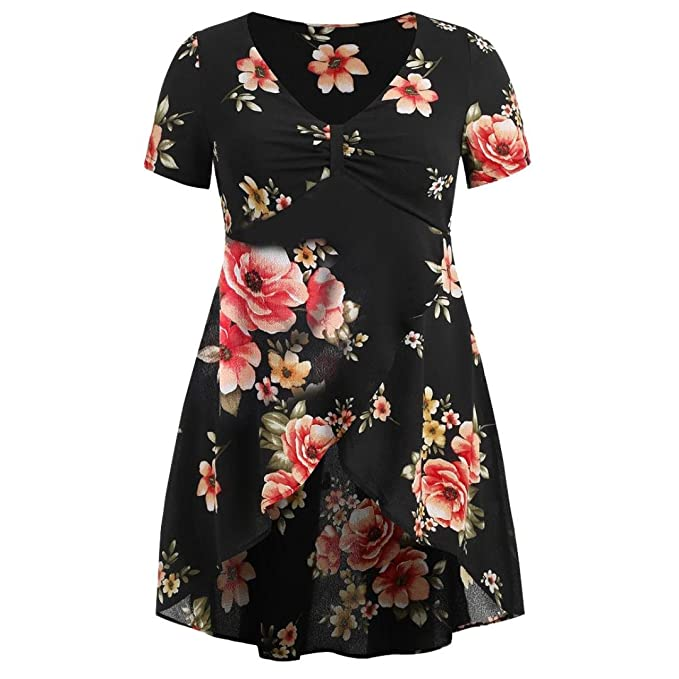 8e714c2aad3 Vests iDWZA Fashion Women Floral Printed Belted Surplice Peplum Blouse  V-Neck Tops Plus Size White