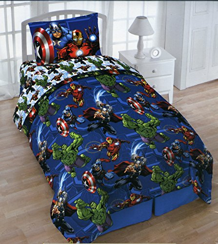 Marvel Avengers Twin 4 Piece with Tote - Reversible Comforter, Sheets, Pillowcase