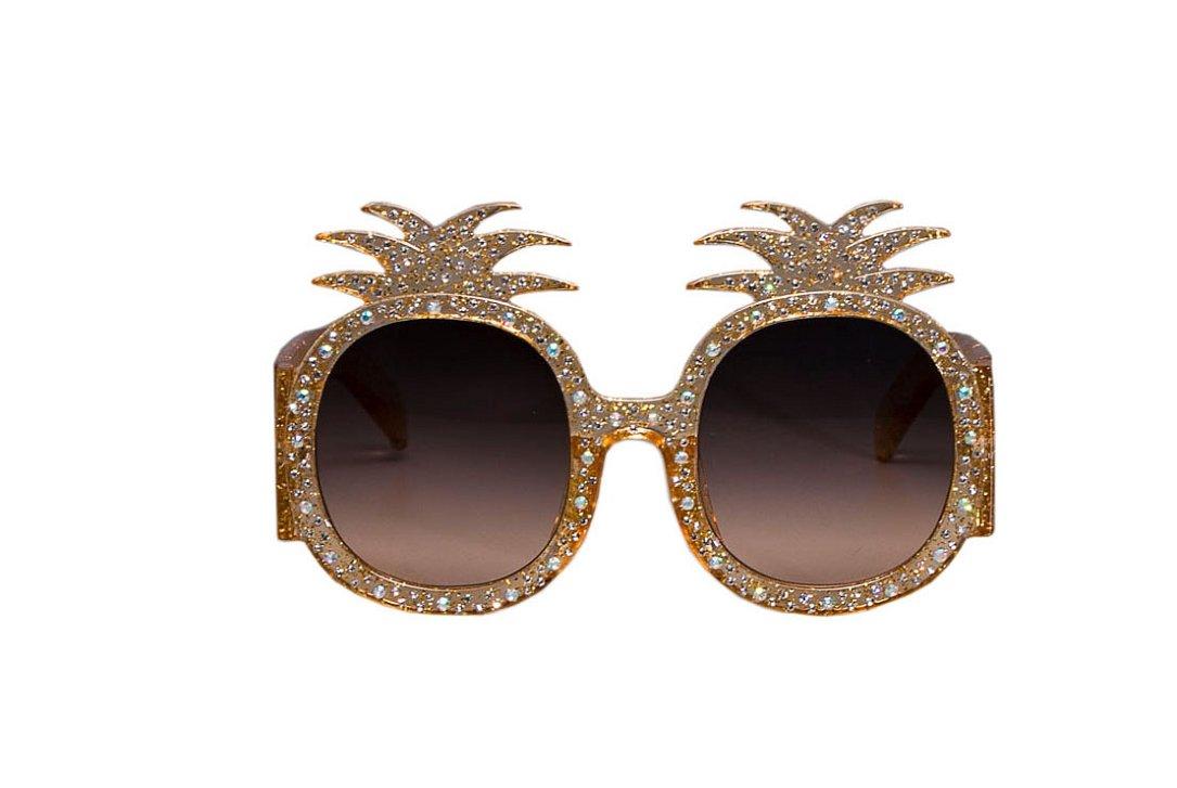YABINA Oversized Round Sunglasses Women Pineapple Frame Fashion Modern Shades (A)