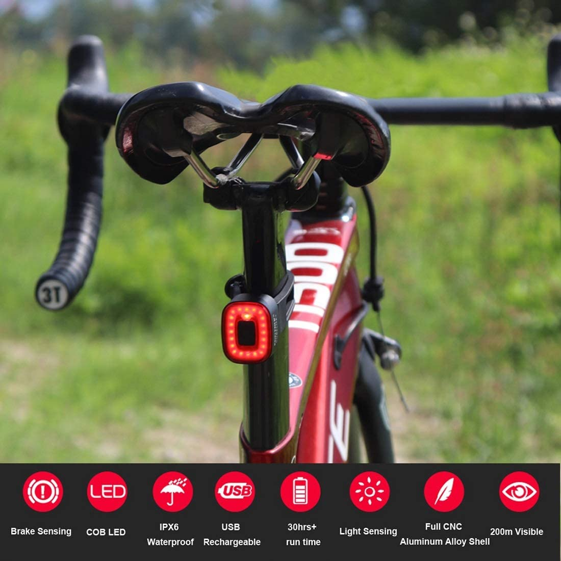 Xlite Cube Smart Bike Brake Sensing Tail Light Ultra Bright,Bicycle Rear Night Light Rechargeable Auto On Off, IPX6 Waterproof Lights, High Intensity Accessories Fits All Mountain Road Bike