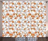 Geometric Decor Collection Triangles Argyle Polygon Patterns Vibrant Colors Zig Zag Fashion Ornament Design Living Room Bedroom Curtain 2 Panels Set Orange Grey White