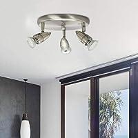 Modern Chrome 3 Way Round Adjustable LED Ceiling Spotlight for Kitchen, Living Room, Bedroom Ceiling Light Fitting 3x3W 3000K Warm White