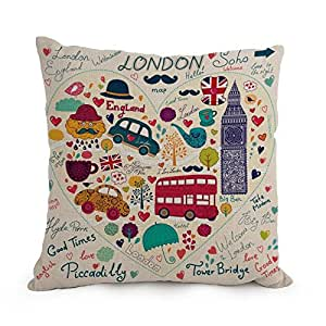 London Pillow Covers 18 X 18 Inches / 45 By 45 Cm For Teens Girls,car,kids,husband,bedroom,kids Room With Twice Sides