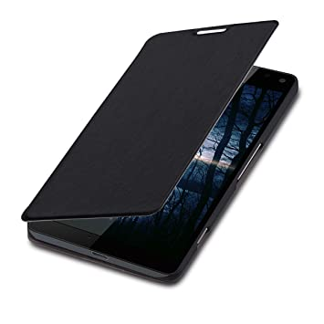 best authentic f6c14 14b0e kwmobile Case for Microsoft Lumia 950 XL - Book Style Flip Folio Slim  Wallet Cover with Stand Feature - Black