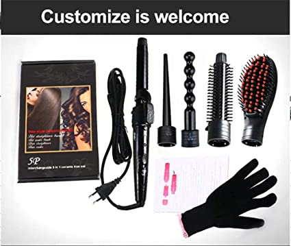 Rizador de Pelo 5 en 1 Curling Wand Set con 5 varillas intercambiables Hair Wand